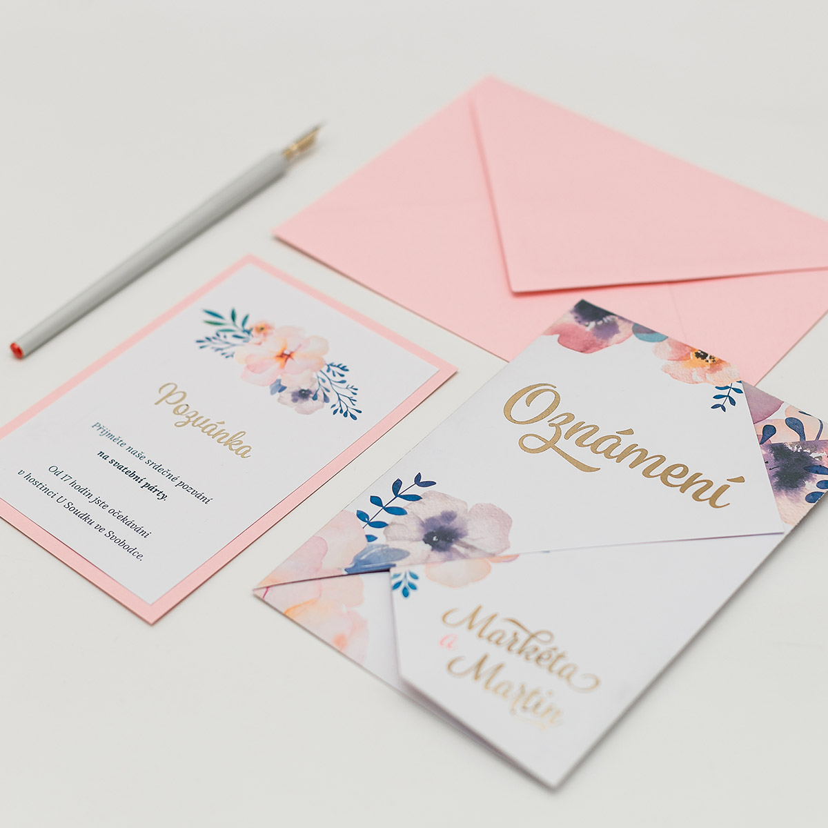 Blush & gold invitations